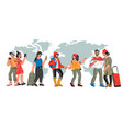 international tourism banner with travelers vector image vector image