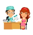 Lady Doctor Giving a Prescription to Her Female vector image vector image