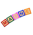 maine wooden block letters vector image vector image