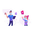 man designer with tablet and cute little girl vector image