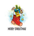 merry christmas poster stocking sock with gifts vector image