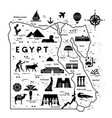outline and silhouette map egypt vector image vector image