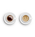 realistic white cups with coffee top view vector image