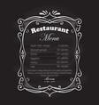 restaurant menu frame blackboard vintage hand vector image vector image