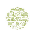 rural landscape and agriculture farming thin line vector image vector image
