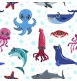 Sea animals seamless pattern with cute sea