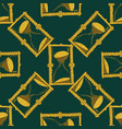 seamless pattern with vintage hourglass on green vector image