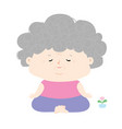 senior woman do meditation vector image vector image