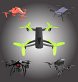 set of cartoon drones isometric vector image vector image