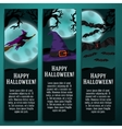Set of halloween banners with witch hat bat vector image