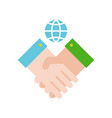 shaking hand and earth planet green energy concept vector image vector image