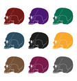 skull icon in black style isolated on white vector image