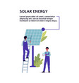 Solar energy banner with engineers and cell flat