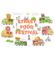 street food festival trucks set sketch vector image vector image