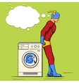 Superhero in the laundry comic book vector image