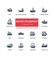 water transport - flat design style icons set vector image vector image