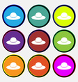 Woman hat icon sign Nine multi colored round vector image