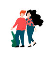 young man and beautiful brunette woman walking vector image vector image