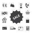 shopping icons set sale vector image