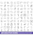 100 analytics icons set outline style vector image vector image