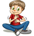 A boy with a golden heart idiom vector image