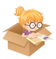 A girl reading book in a box vector image