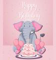 an elephant on birthday template vector image vector image