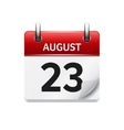 August 23 flat daily calendar icon Date vector image vector image