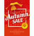 Autumn sale poster template with umbrella vector image vector image