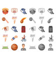 basketball and attributes cartoonmono icons in vector image vector image