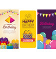 birthday celebration set icons vector image