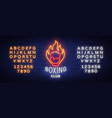 boxing club logo in neon style vector image