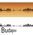 Budapest skyline in orange background vector image vector image