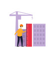 builders in work clothes and protective helmets vector image