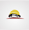 car logo with sun background icon element and vector image