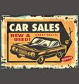 car sales vintage sign vector image vector image