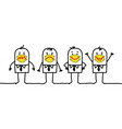 cartoon people wearing yellow protection masks vector image