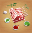 crude organic lamb chops with herbs and sauces on vector image vector image