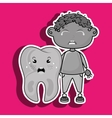 crying cartoon of a boy and a tooth with a vector image vector image