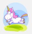 cute little unicorn sticker set vector image vector image