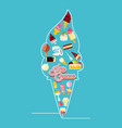 delicious ice cream cone neon lights vector image