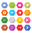 Flat arrow icon set hexagon web button vector image