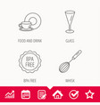 Food and drink glass and whisk icons