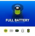 Full battery icon in different style vector image