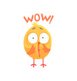 funny surprised cartoon comic chicken with phrase vector image