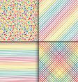 Geometric seamless patterns set in vintage rainbow vector image