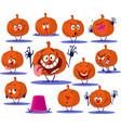 halloween pumpkin cartoon stickers funny ill vector image