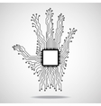 Hand Cpu Circuit board vector image