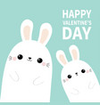happy valentines day two white bunny rabbit hare vector image vector image