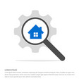 house icon search glass with gear symbol icon vector image